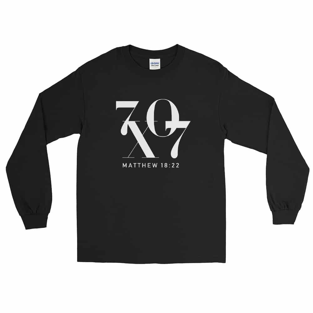 70 X 7 Forgiveness Black Christian Long Sleeve T-Shirt