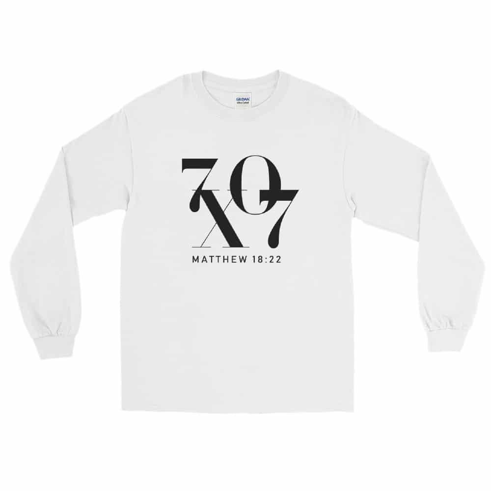 70 X 7 Forgiveness White Christian Long Sleeve T-Shirt
