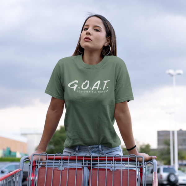 Cool God Over Everything Jesus Faith Heather Forest Tee