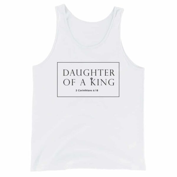 Daughter Of A King White Christian Tank Top