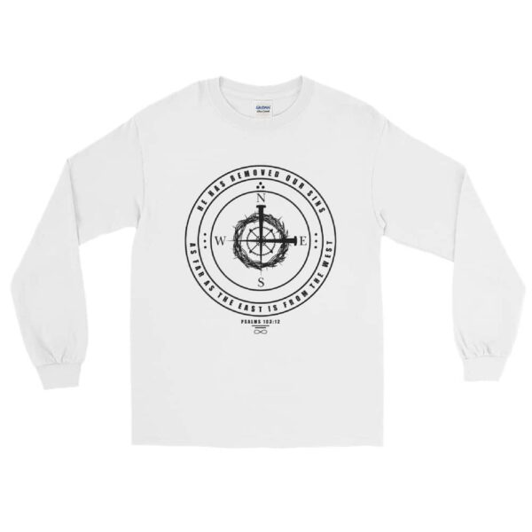 East to West White Christian Long Sleeve T-Shirt