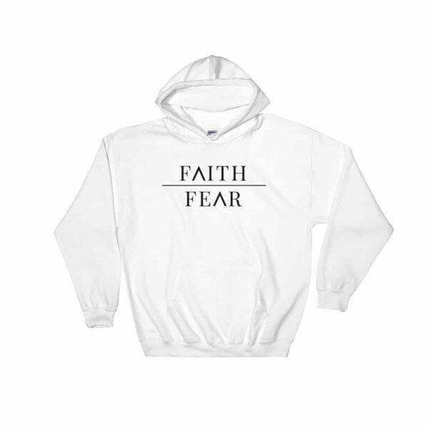 Faith Over Fear White Christian Hoodie