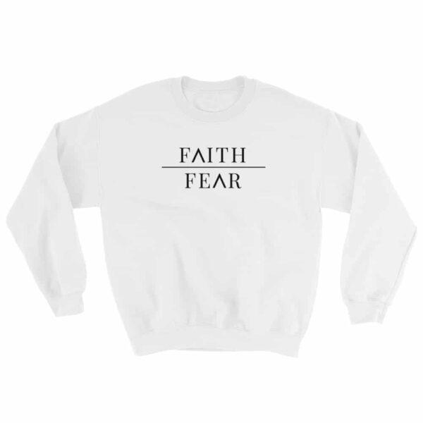 Faith Over Fear White Christian Crewneck