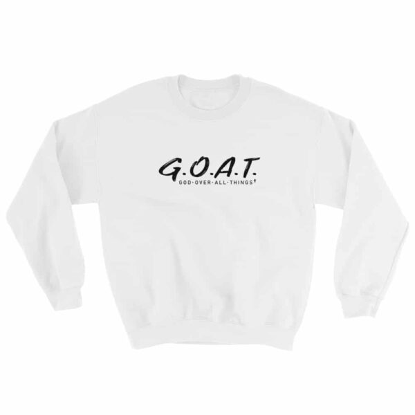 God Over All Things White Christian Crewneck