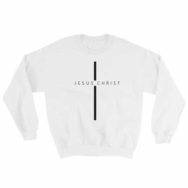 Jesus Christ Cross White Crew Neck Sweatshirt