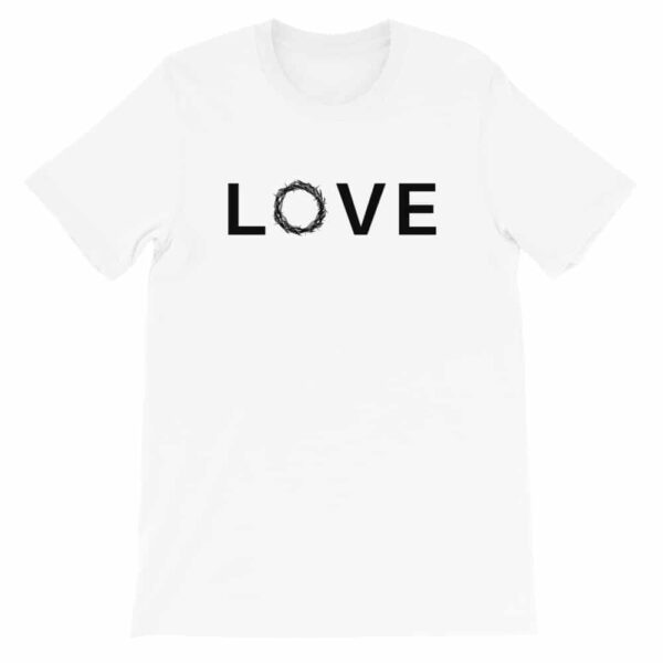 Love Crown of Thorns White Christian Graphic T-Shirt