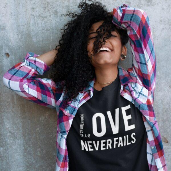 Love Never Fails Christian T Shirt For Women