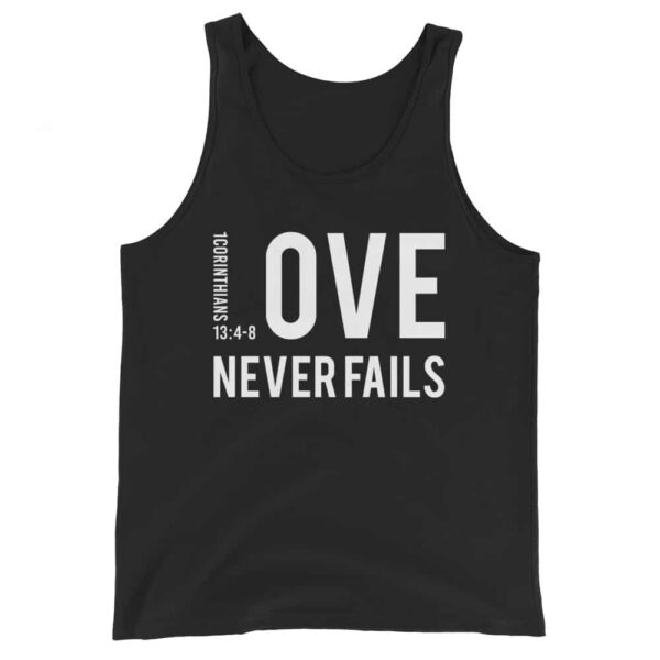 Love Never Fails Integrated Black Christian Tank Top