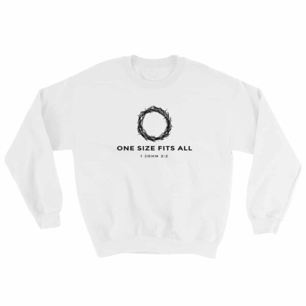 One Size Fits All White Christian Crewneck