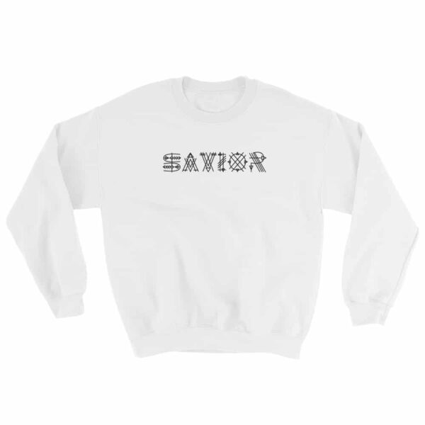 Savior White Crew Neck Sweatshirt