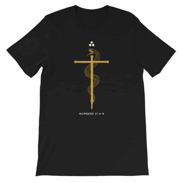 Bronze Serpent of Faith Black Christian Graphic T-Shirt
