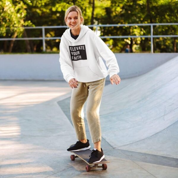 Christian Elevate Your Faith Religious Hoodie of a Young Women at Skatepark