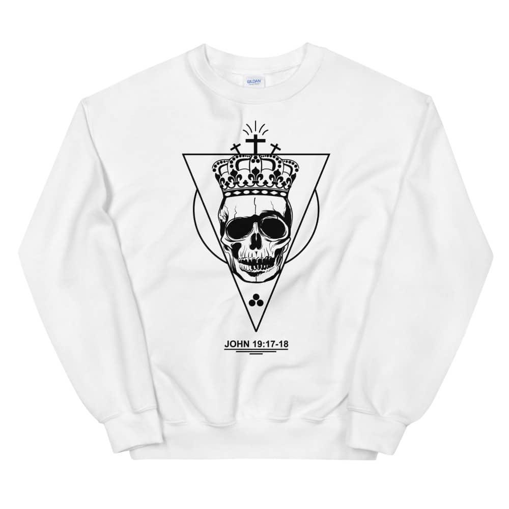 Golgotha Christian White Crewneck Sweatshirt