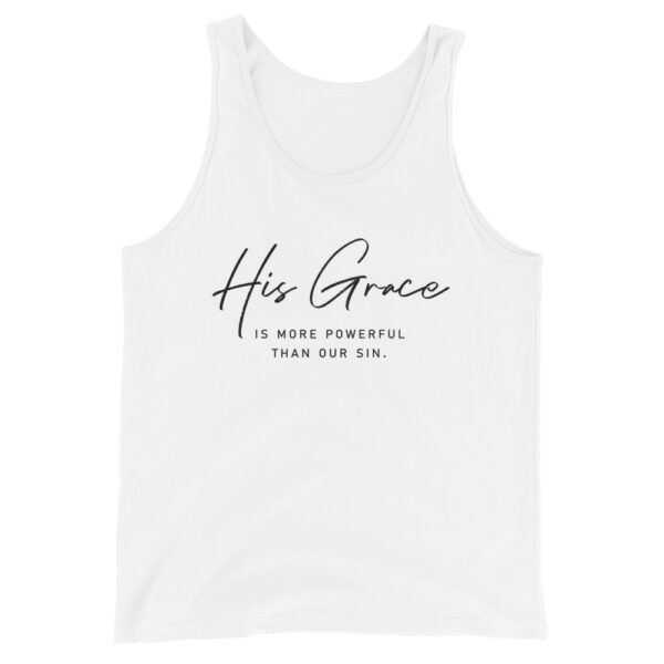 His Grace Is More Powerful White Christian Tank Top