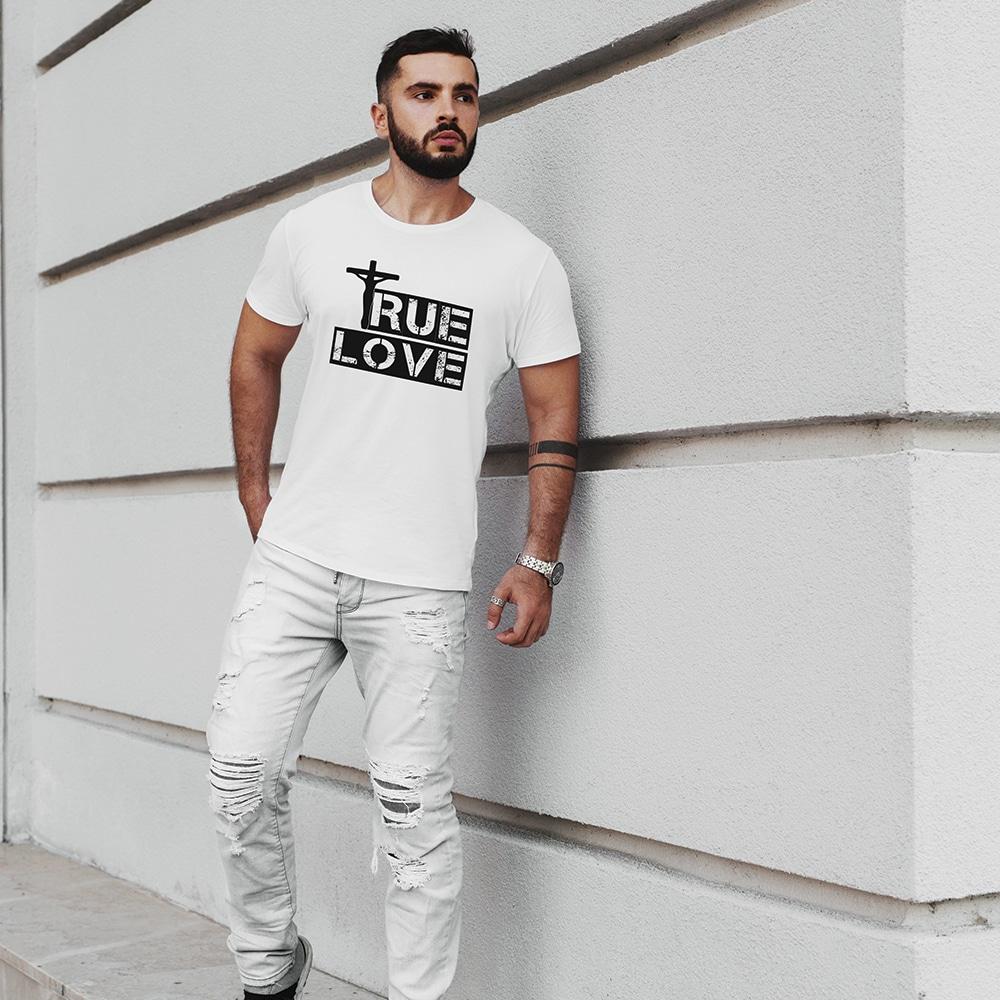 Man Wearing True Love Christian White T Shirt